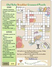 Breakfast Crossword Puzzle Worksheet