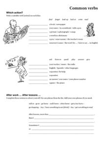 Common Verbs Worksheet