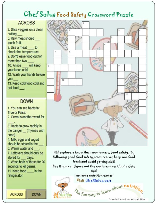 Chef Solus Food Safety Crossword Puzzle Worksheet For 4th 5th
