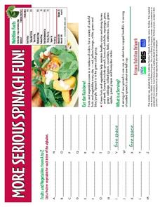 More Serious Spinach Fun!  Worksheet
