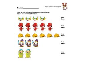First Grade Online Halloween Math Problems Worksheet
