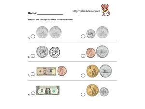 Compare And Select Picture That Shows More Money. Worksheet