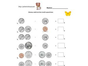 Money Subtraction Math Questions Worksheet