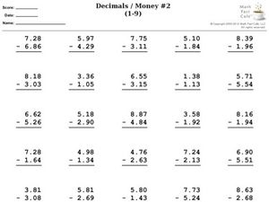 Decimals / Money #2 (1-9) Worksheet