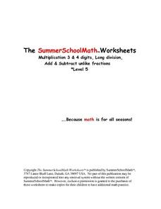 The Summer School Math Worksheets-Multiplication, Division, Fractions Level 5 Worksheet