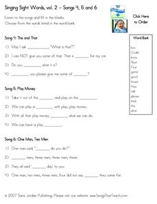 Singing Sight Words, vol. 2 - Songs 4, 5 and 6 Worksheet