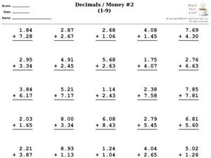 Decimals -  Money (Addition) Worksheet