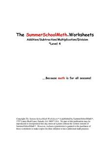 The SummerSchoolMath Worksheet- Addition, Subtraction, Multiplication and Division Level 4 Worksheet