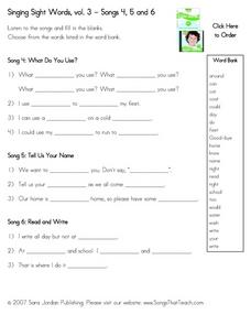 Singing Sight Words, vol. 3 - Songs 4, 5 and 6 Worksheet