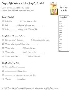 Singing Sight Words - Volume 1 Worksheet