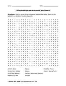 Endangered Species of Australia Word Search Worksheet