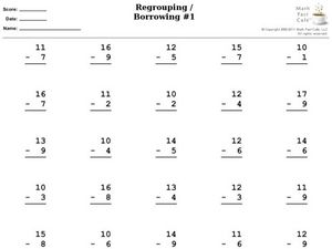 Subtracting With Regrouping / Borrowing Worksheet