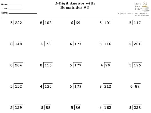 Division 2 Digit Answer With Remainder Worksheet For 4th