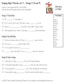 Singing Sight Words: Volume 4 Worksheet