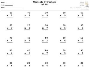 Multiply By Factors of 10 Worksheet