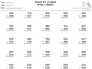 Subtraction of 3 Digits From 3 Digits- With Regrouping Worksheet