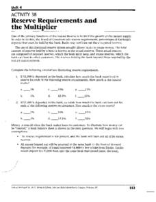 Reserve Requirements and the Multiplier Worksheet