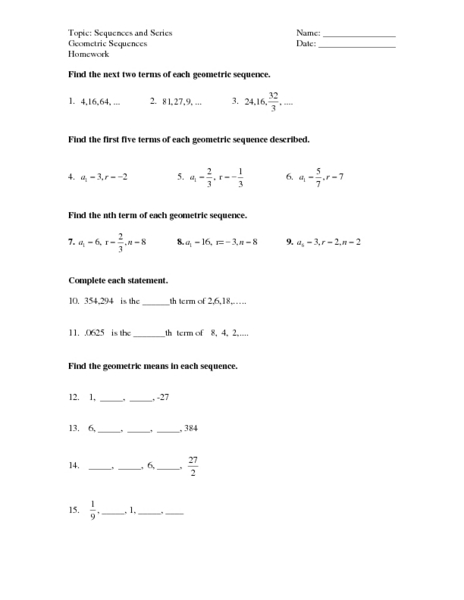 Sequence And Series Worksheet - Nidecmege