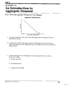 An Introduction to Aggregate Demand Worksheet for 9th - 12th Grade ...