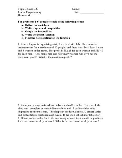 Linear Programming Worksheet: Topic 3 5 & 3 6  Linear Programming 9th   12th Grade Worksheet    ,