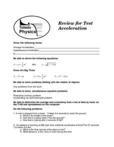 Review for Test - Acceleration Worksheet