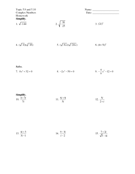 Topic 5.9 and 5.10 - Complex Numbers Worksheet for 7th - 9th ...