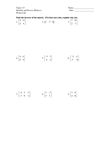 Topic 4 5 Identity And Inverse Matrices Worksheet For