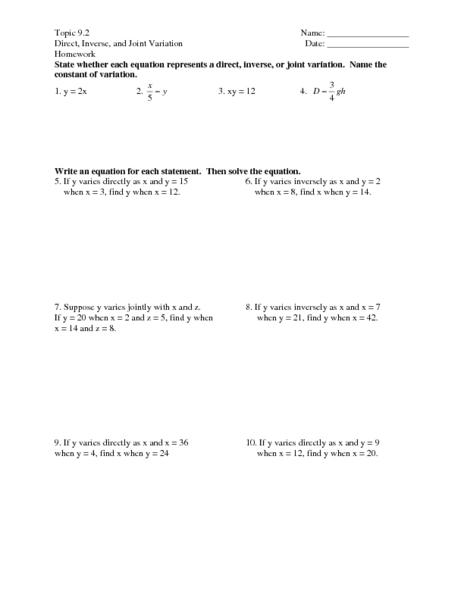 Direct Variation Worksheet. Worksheets. Reviewrevitol Free ...