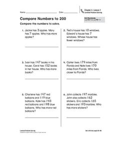 Compare Numbers to 200 Worksheet