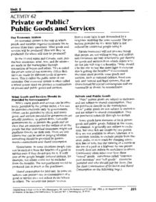 Private or Public? Public Goods and Services Worksheet