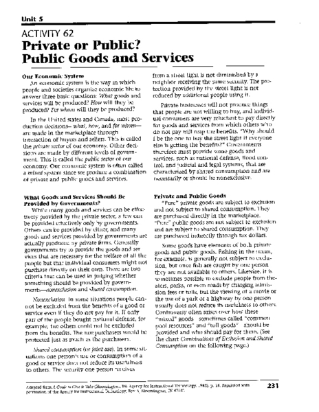 Private Or Public Public Goods And Services Worksheet For
