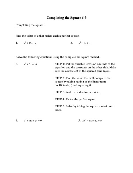 Completing the Square 6-3 Worksheet for 7th - 9th Grade ...