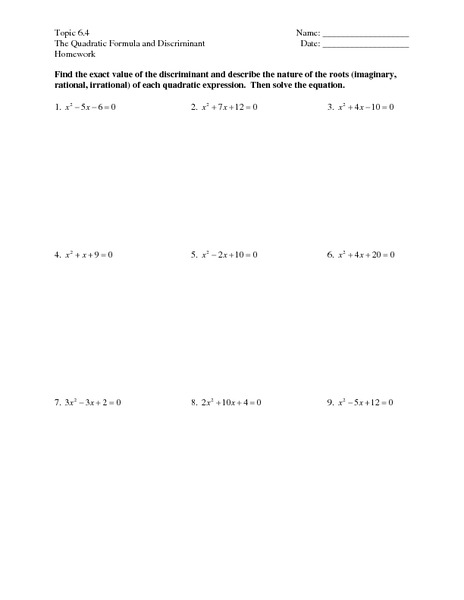 Topic 64 The Quadratic Formula And Discriminant Worksheet For 9th