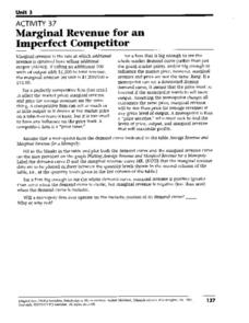 Marginal Revenue for an Imperfect Competitor Worksheet