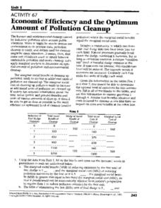 Economic Efficiency and the Optimum Amount of Pollution Cleanup Worksheet