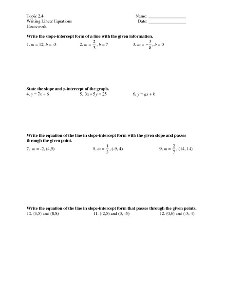 Topic 2.4 - Writing Linear Equations Worksheet for 7th - 9th ...
