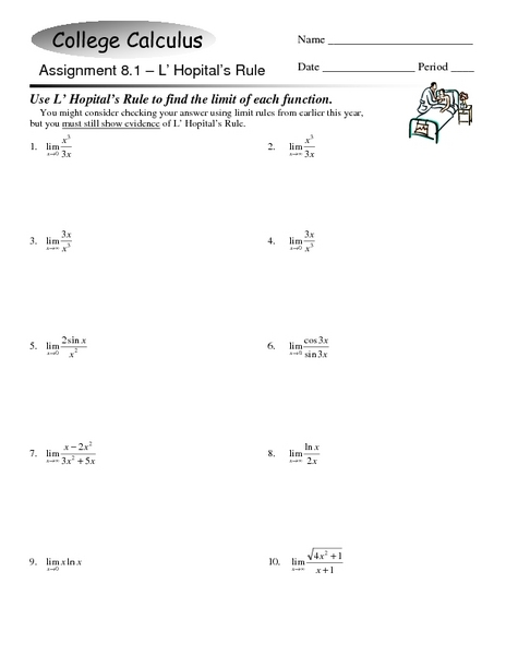 College Calculus: L' Hopital's Rule Worksheet for 12th ...