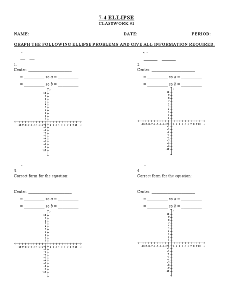 7 4 Ellipse Classwork 1 Worksheet For 9th 11th Grade