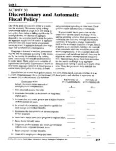 Discretionary and Automatic Fiscal Policy Worksheet