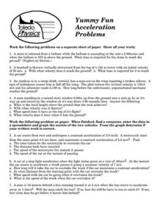 Acceleration Problems Worksheet