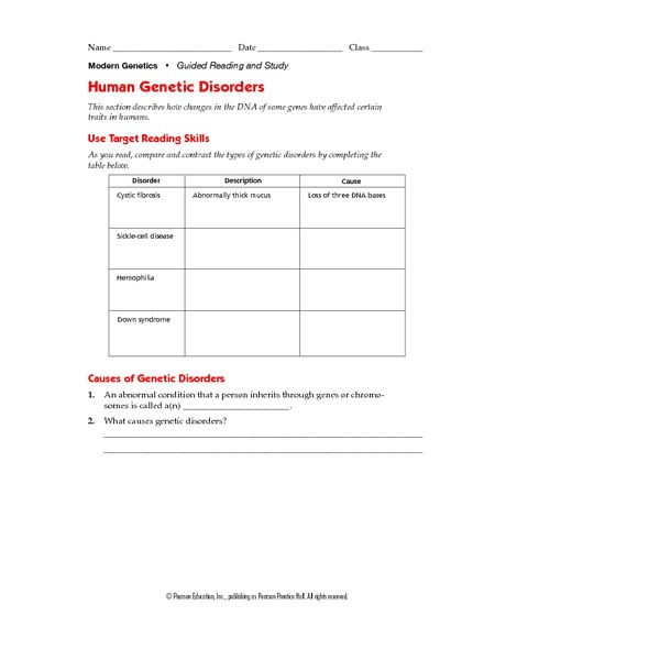 Human Genetic Disorders 9th Higher Ed Worksheet – Genetic Disorders Worksheet