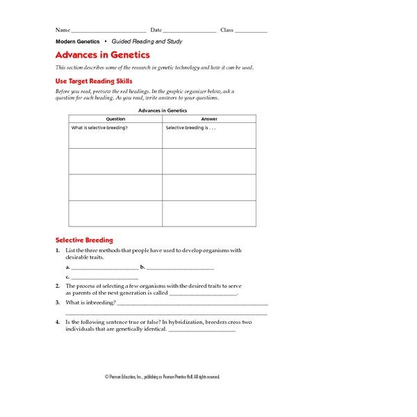 Advances in Genetics 9th 12th Grade Worksheet – Genetic Engineering Worksheet