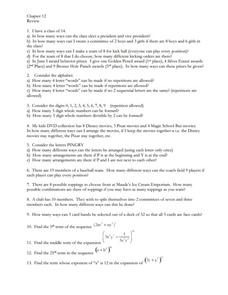 Combinations and Sequences Worksheet