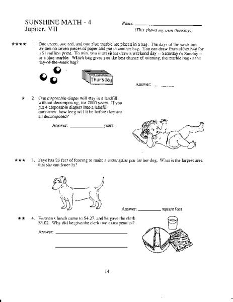 math worksheet : sunshine math 4 jupiter vii 4th grade worksheet  lesson pla  : Sunshine Math Worksheets