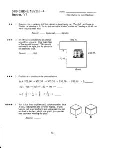Sunshine Math- 4 Worksheet