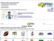 Compare Weight Worksheet