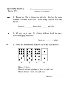 Sunshine Math- 2  Earth, XVI Worksheet