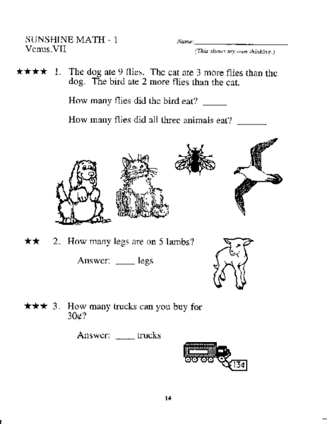 Grade One Mixed Math Practice Worksheet