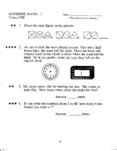 Sunshine Math - 1: Venus, VIII Worksheet