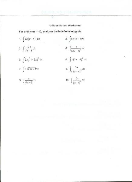 U Substitution Worksheet Worksheet For 10th 12th Grade